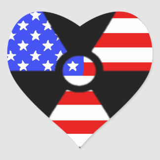 Radiation symbol american flag heart sticker