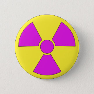 Radiation warning sign magenta and yellow 2 inch round button
