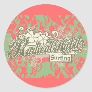 Radical Habits Surfing Tshirts and Gifts Classic Round Sticker