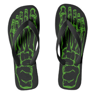 Radio Active Green Skeleton Bone Flip Flops