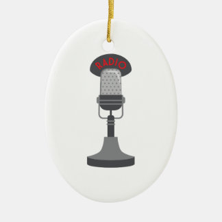 Radio Microphone Ceramic Oval Ornament