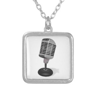 Radio Microphone Silver Plated Necklace