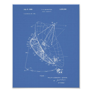 Radio Telescope 1968 Patent Art Blueprint Poster