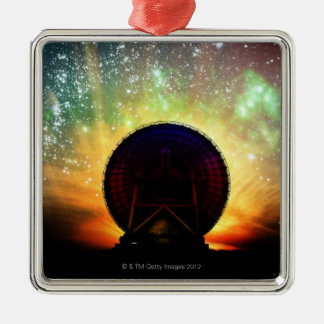 Radio Telescope Silver-Colored Square Ornament