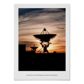 Radio Telescope Sunset Poster