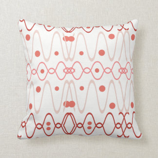 radio waves! scribble art in pinks on white throw pillow