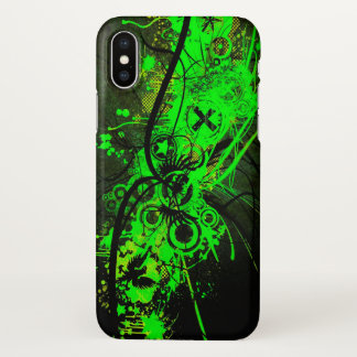 radioactive green abstract print iPhone x case