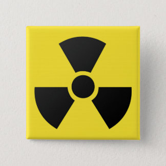 Radioactive radiation nuclear atomic symbol 2 inch square button
