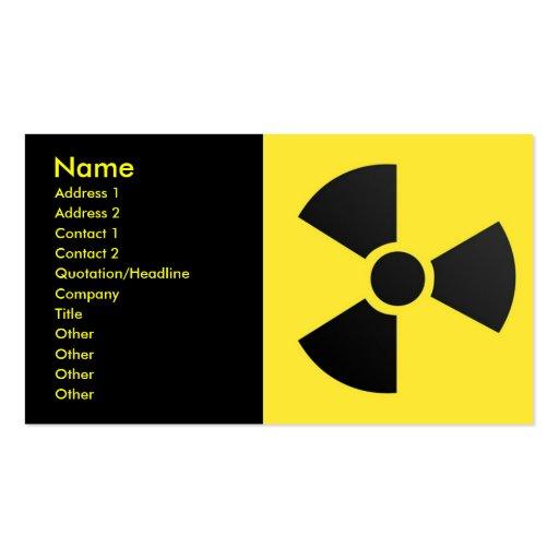 Radioactive Sign, Name, Address 1, Address 2, C... Business Card