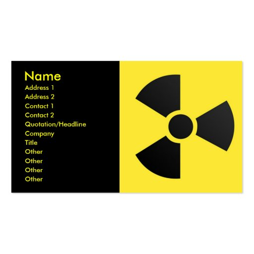 Radioactive Sign, Name, Address 1, Address 2, C... Pack Of Standard Business Cards