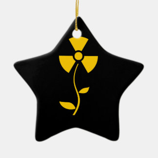Radioactive to flower Yellow design Ceramic Ornament