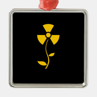 Radioactive to flower Yellow design Metal Ornament