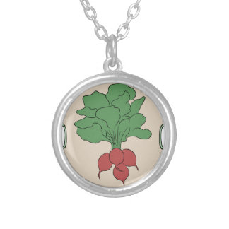 Radish Sign Silver Plated Necklace