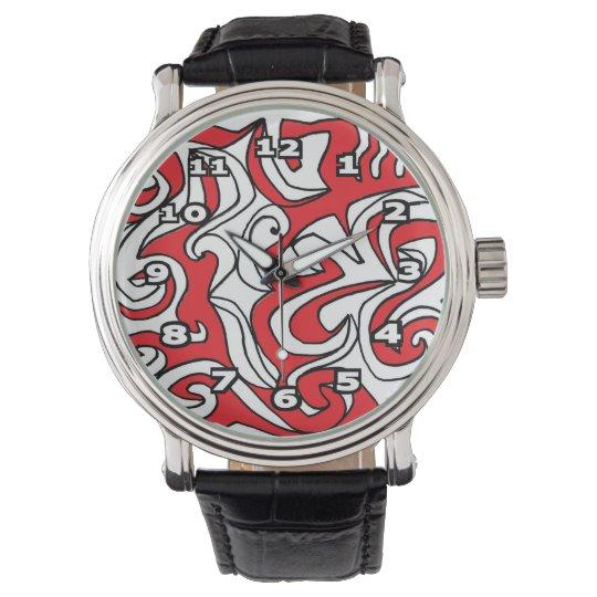 """""""Radoslovich"""" Black Vintage Leather Watch"""
