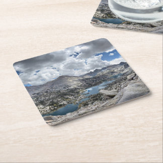 Rae Lakes Panorama from Fin Dome - John Muir Trail Square Paper Coaster