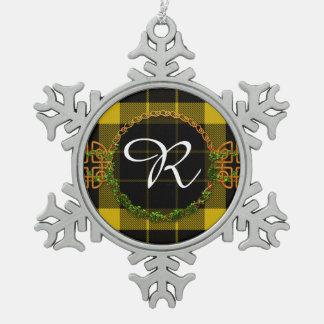 Raeburn Tartan And Monogram Snowflake Pewter Christmas Ornament