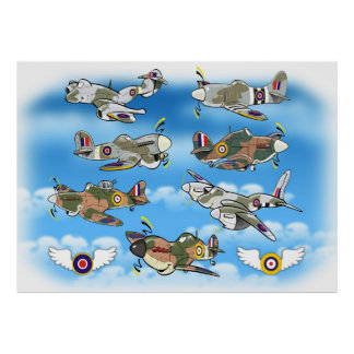 raf  famous ww2 fighters poster