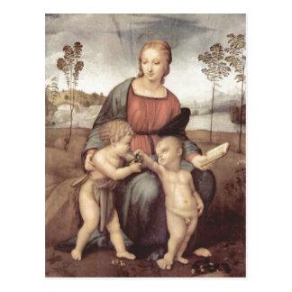 Raffael Madonna mit dem Stieglitz, Szene: Maria mi Postcard