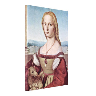 Raffael - Portrait of Young Woman with Unicorn Canvas Print