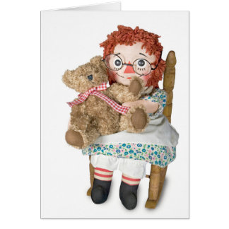 Rag doll and teddy bear card
