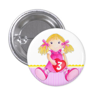 Rag doll girl age 3 birthday button badge