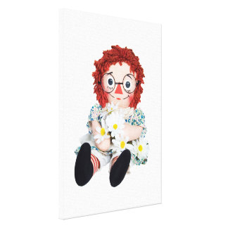 rag doll with daisies canvas print