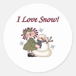 Ragdoll and Snowman Classic Round Sticker