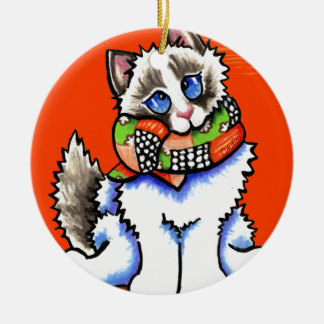 Ragdoll Cat All Dolled Up Ceramic Ornament