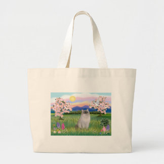 Ragdoll Cat (Blue Point) - Blossoms Large Tote Bag