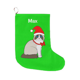 Ragdoll Cat Dressed in Santa Hat Customizable Large Christmas Stocking