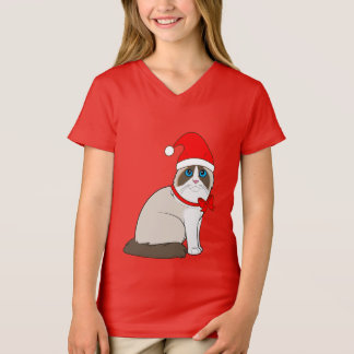 Ragdoll Cat Dressed in Santa Hat for Christmas T-Shirt