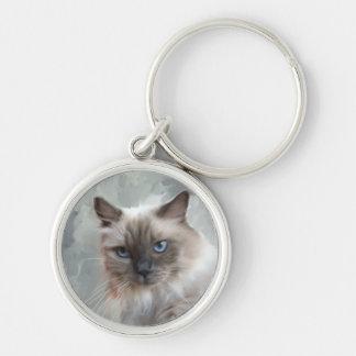 Ragdoll Cat Silver-Colored Round Keychain