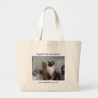 Ragdoll Seal Mitted Large Tote Bag