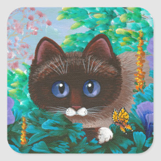 Ragdoll Siamese Cat Creationarts Square Sticker