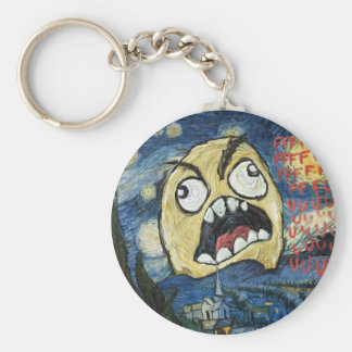 Rage Face Meme Face Comic Classy Painting Basic Round Button Keychain