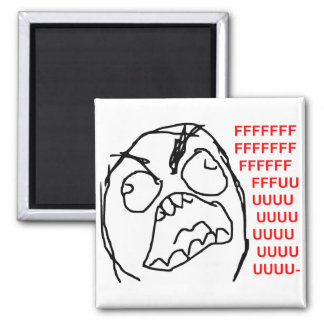 Rage Guy Angry Fuu Fuuu Rage Face Meme Square Magnet