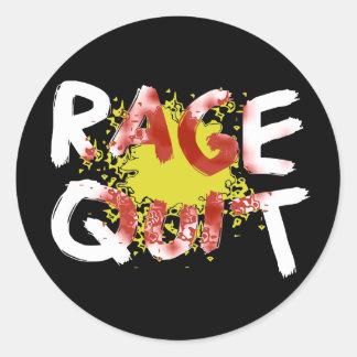 Rage Quit (Dark) Classic Round Sticker