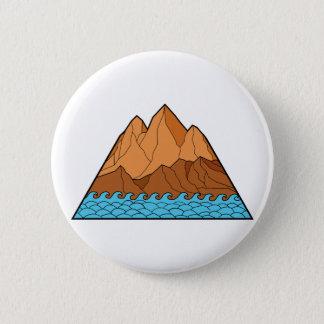 Ragged Mountain Waves Mono Line 2 Inch Round Button