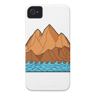Ragged Mountain Waves Mono Line Case-Mate iPhone 4 Cases