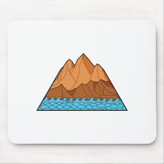 Ragged Mountain Waves Mono Line Mouse Pad