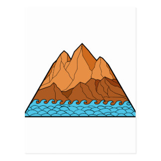 Ragged Mountain Waves Mono Line Postcard