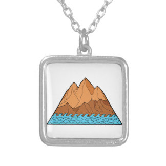 Ragged Mountain Waves Mono Line Silver Plated Necklace