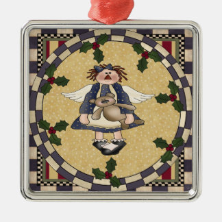 Raggedy Angel and Teddy Bear Christmas Ornament