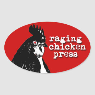 Raging Chicken Logo Oval Sticker w/ text