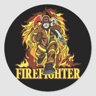 Raging Flames Firefighter Classic Round Sticker