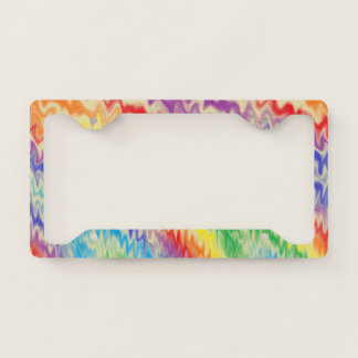 Raging Rainbow Fire Lines License Plate Frame