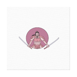 Raging Samurai Warrior Two Swords Oval Drawing Canvas Print