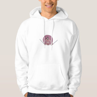 Raging Samurai Warrior Two Swords Oval Drawing Hoodie