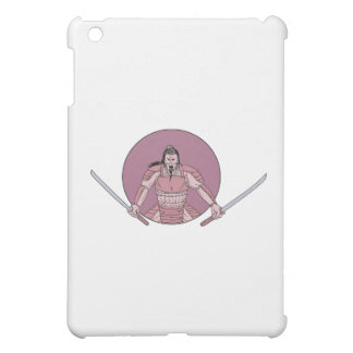 Raging Samurai Warrior Two Swords Oval Drawing iPad Mini Case
