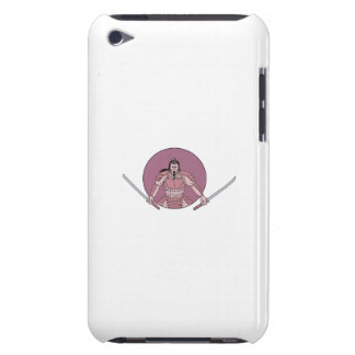 Raging Samurai Warrior Two Swords Oval Drawing iPod Case-Mate Cases